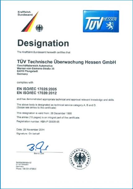 Certification, Accreditation, Designation – Automotive | TÜV Hessen